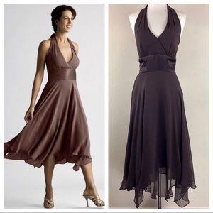 Donna Rocco Silk Halter Flutter Dress Brown Size 6
